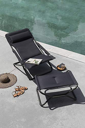 Lafuma Chaise longue, Pliable et réglable, Transabed, Air Comfort, Couleur: Acier, LFM2459-6135
