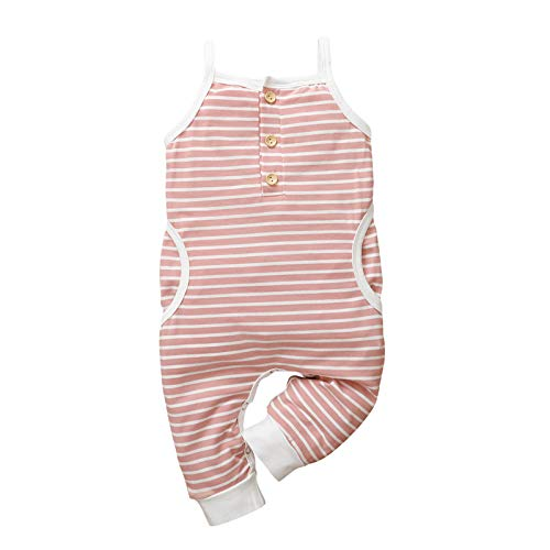 Julhold Babykleidung Set Baby Mädchen Kleidung Outfit 1-teiliges Baby Ärmelloser Gestreifter Bedruckter Sling-Overall Sommer-Outfits Kleidungs 3-18 Monate(Rosa,100)