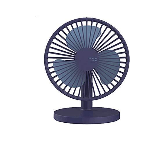 Bureauventilator, USB, oplaadbaar, draagbaar, 3 snelheden, stil schommelen, verstelbare hellingshoek, draagbare persoonlijke ventilator voor bureau, blauw