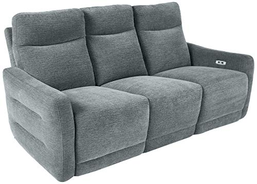 "Homelegance Edition 78"" Fabric Power Double Lay-Flat Reclining Sofa, Dove"
