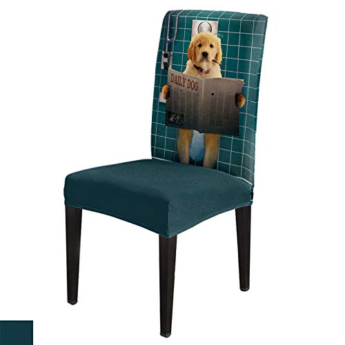 Dining Chair Covers, Stretch Protectors Slipcovers Funny Dog with Cigarette Sit on Toliet Read Newspaper Removable Washable Seat Cover for Home Living/Dining Room Party Hotel Cute Animal