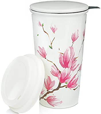 Pink Flower Blossom Double Wall Ceramic Travel Tea Infuser Mug
