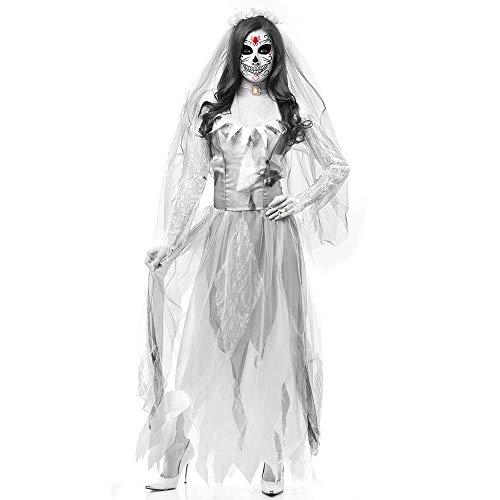 GACOSPLAY Geister Braut Kostüm, Spiel Kostüm, Bar Stage Kostüm, Vampir Dämon Kostüm, Halloween Horror Zombie,White-M