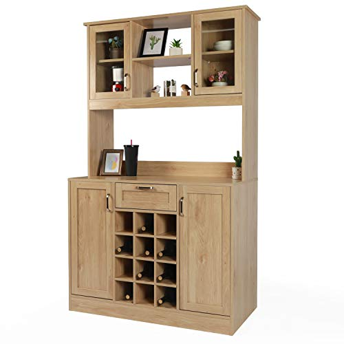 LAZZO Kitchen Pantry, Storage Cupboard, Freestanding Kitchen Pantry and Hutch with Framed Glass Door, Open Shelf, Countertop,Kitchen Buffet Cabinet with Wine Rack Drawer for Home Kitchen Hallway