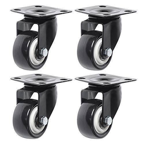 AOZAX rotelle 4 PCS 2 Pollici Ruote a Castello del Freno Resistente con Ruote girevoli in PU con Piastra Superiore a 360 Gradi 45 kg capacità Totale per arredi Liscio (Color : Casters, Size : 2 inch)