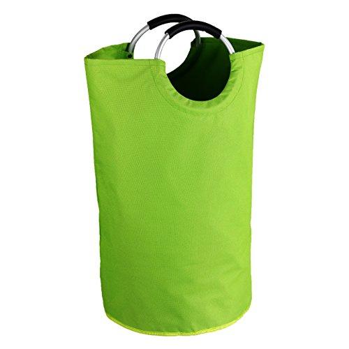 WENKO 3440805100 Wäschesammler Jumbo-/Wäschekorb, Multifunktionstasche Fassungsvermögen: 69 l, Polyester, 38 x 72 x 38 cm, grün