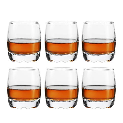 Shot Glasses, HOMEYUT 2.8oz Heavy Base Shot Glass Set, Clear Shot Glasses Set of 6/Whiskey Shot Glass espresso liquor/Perfect for Tequila Lovers
