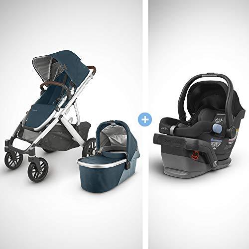 UPPAbaby Vista V2 Stroller - Finn (Deep Sea/Silver/Chestnut Leather) + Mesa Infant Car Seat - Jake (Black)