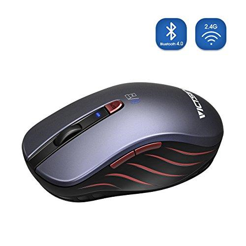 VicTsing Bluetooth 4.0& 2.4G Wireless Maus 5DPI Adjustables und Kontrolle von Multi-dispositivo, für PC, Computer, Notebook, Mac, und Mobile Tablet Andorid, Smart