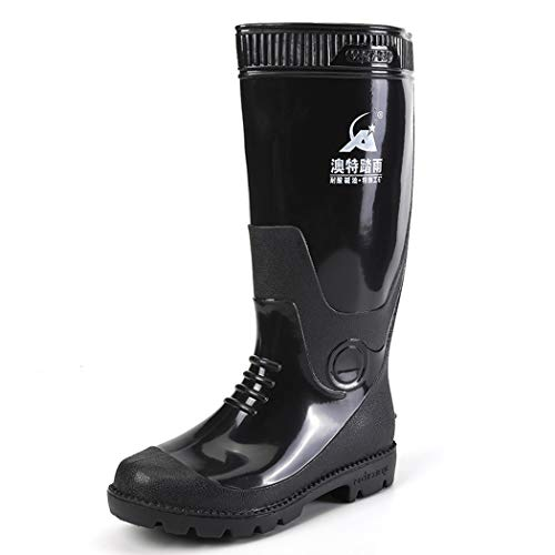 Mens Wellington Boots Ladies Safety Rain Shoes High Wellies Boots Waterproof Outdoor Shoes Soft Fabric Lining Durable Anti-Static Working Shoes Garden Welly Boots Best for Wet Weather,Black,44EU