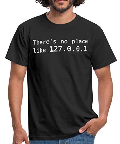 Informatique There's No Place Like 127.0.0.1 T-Shirt Homme, L, Noir