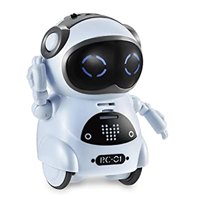 Haite Mini Robot, Pocket Robot for Kids with Interactive Dialogue Conversation, Voice Recognition, Chat Record, Singing&Dancing, Speech Recognition, Electric Small Robot Toy Gift for Kids, Blue