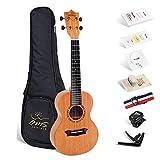 """Enya OMS-02 Concierto 23"""" AA caoba sólida superior ukulele en compañía de caso acolchado,Correa,Sintonizador,Capo,cuerdas,picos,paño de pulido,anillo de ritmo"""