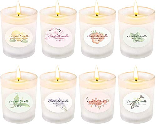 Scented Candles Gift Set, Soy Wax 2.5 oz Per Cup Portable Glass Candles Women Gift for Aromatherapy 8 Pack