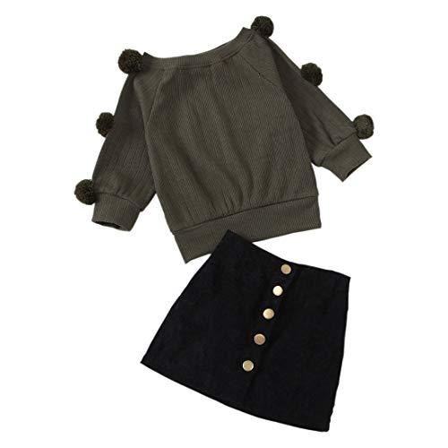 Verve Jelly - Juego de 2 piezas para niña de otoño y invierno, manga larga, con botones de metal y falda de línea A