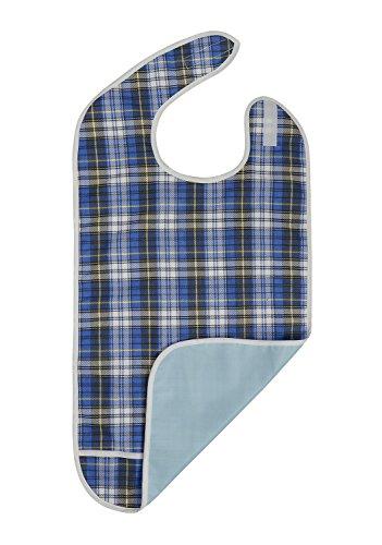 Modaliv, Lätzchen für Erwachsene, mit Auffangbeutel, wiederverwendbar, wasserfest, maschinenwaschbar, extra lang, für Damen und Herren, blau