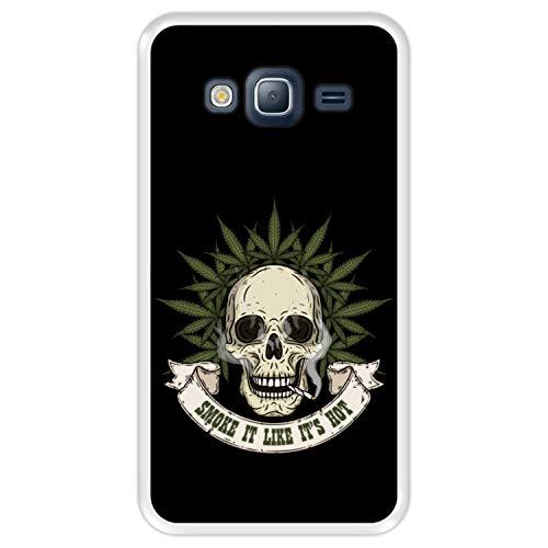 Hapdey Custodia per [ Samsung Galaxy J3 - J3 2016 ] Disegni [ Cranio con Marijuana, Smoke it Like It's Hot ] Cover Guscio in Silicone Flessibile Transparente TPU