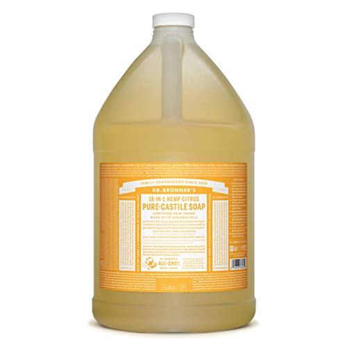 Dr. Bronner's - Pure-Castile Liquid Soap (Citrus, 1 Gallon) - Made with Organic Oils, 18-in-1 Uses: Face, Body, Hair, Laundry, Pets and Dishes, Concentrated, Vegan, Non-GMO