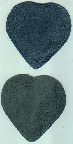2 Knie- und Ärmelschoner aus echtem Leder - blau / Herzform - ca. 13 X 12 cm - mit vorgelochten Nählöchern - 1 mm dick [Ärmelschoner/Knieschoner zum Aufnähen - echt Leder, OVP, Original-Verpackung]