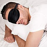 Sleep Mask Night Cover Eye Sleeping Silk Satin Masks for Women Men, Blindfold for Airplane Travel Adjustable Strap (Black)