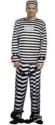 囚人服 男女兼用 ハロウィン コスチューム 囚人 仮装 コスプレ 手錠 セット 白黒 ボーダー 長袖