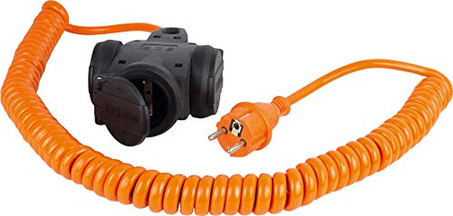 as - Schwabe 70414 Schutzkontakt-Spiralkabel, 5m H07BQ-F 3G1,5, orange, IP44 Gewerbe, Baustelle