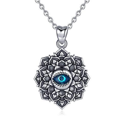 Eudora 925 Sterling Silber Blaue Böse Augen Vintage Schmuck, das Auge der Fatima Anhänger Glücksanhänger Halskette für Frauen Damen Freundin Göttin, 45,7 cm