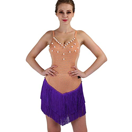 Tassel Professional Latin Dance Competition Vestido Para Mujer Honda Sin Mangas Rumba Tango Performance Costume (Color : Skin color with, Size : S)