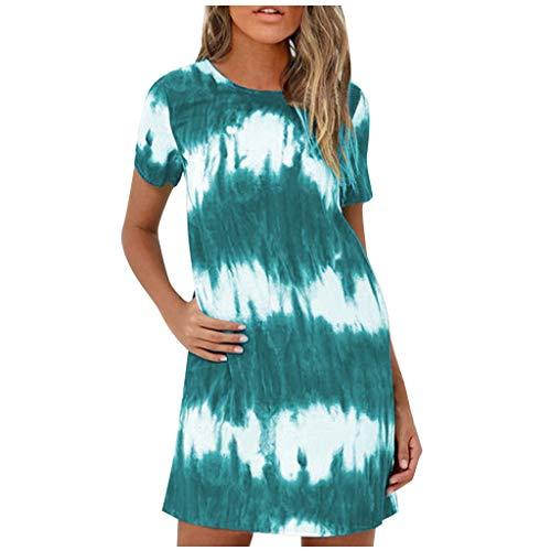 Shenye Damen Freizeitkleid, Mode Tie-Dye Gedruckt Kurzarm O-Ausschnitt Lose Bequeme Minikleid mit Taschen, Sommerkleid Shirtkleider Swing Kleider T-Shirt Kleid