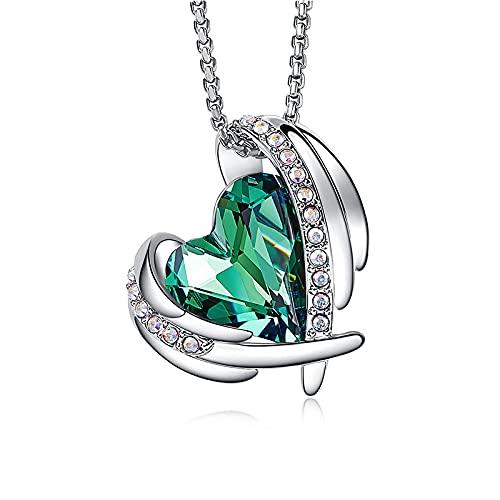 Pequeño ángel rosa corazón colgante collar moda mujer simple joyería cristalina, a,
