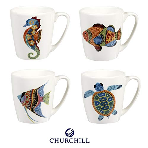 Churchill China Paradise Fish Bellota Diseño Angel Fish Pez Pez Payaso Tortuga Caballito de Mar, Juego de 4 tazas de 300 ml