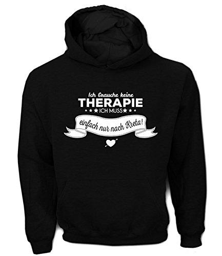 Artdiktat Herren Hoodie Ich brauche keine Therapie - Ich muss einfach nur nach Kreta Größe XXL, schwarz