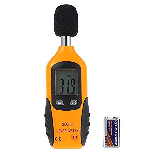 Cadrim Digital Schallpegelmessgerät, Tragbar Digital Sound Level Meter, Mess 30dB (A)A~130dB (A)A mit eine 9V batterie