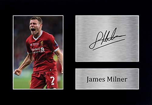 HWC Trading James Milner Liverpool Gifts - Imagen de autógrafo firmada para fans y seguidores, tamaño A4