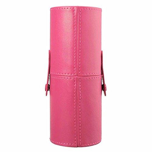 Bluelover Cuir Maquillage Brosses Étui Cosmétique Tasse Boîte De Rangement Vide Bouteille Organisateur-Rose Rouge