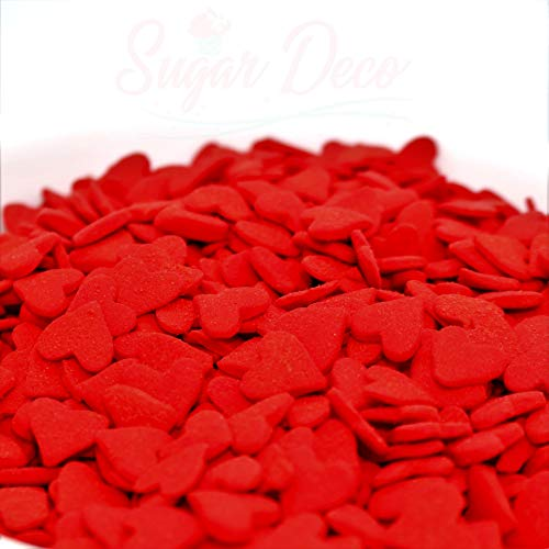 Large Heart Sprinkles - 10 ounces - Red - Kosher Certified by Sugar Deco