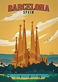 Theissen Vintage Travel Spain Barcelona Upto Poster - Matte Poster Frameless Gift 11x17 inch(28cm x 43cm)*IT-00107
