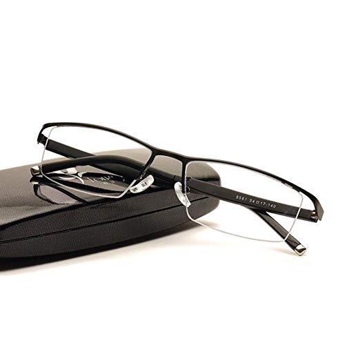 Qwerty Gafas de Lectura multifocales progresivas, Gafas de computadora con Bloqueo de luz Azul para Mujeres Hombres Lectores de Montura de Gafas TR90 de visión única UV Anti Fatiga Visual,Negro,+1.0