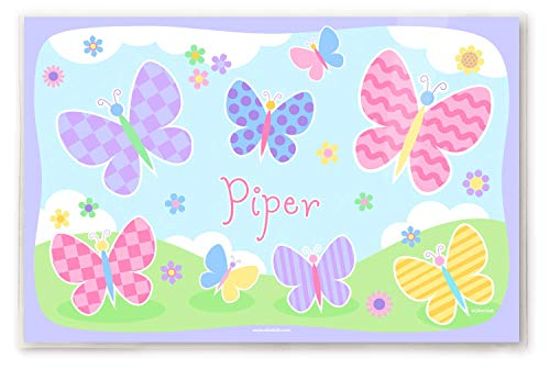 Olive Kids Personalized Butterfly Garden Placemat, 18 Inch by 12 Inch, Laminated