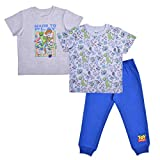 Disney Toy Story Boy's 3-Piece Made to Play T-Shirt and Jogger Pant Set, Beige/Blue, Size 4T
