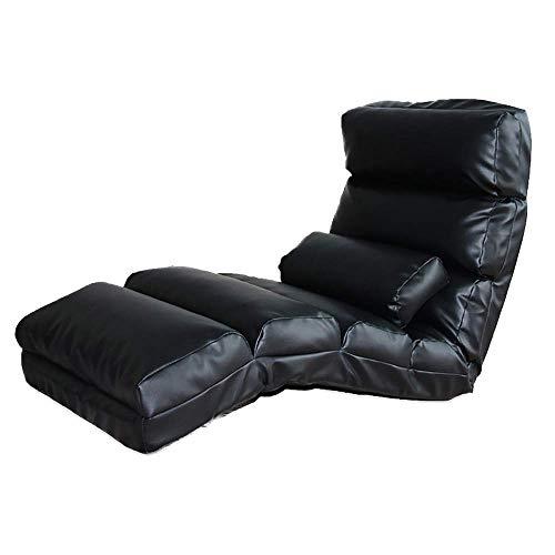 WZF Bequemes Sofa Multifunktionales Klappsofa Einfacher japanischer Stil Bequemes Ledersofa Einstöckiger Lazy Couch Stuhl kann Sich zurücklehnen (Farbe: SCHWARZ)