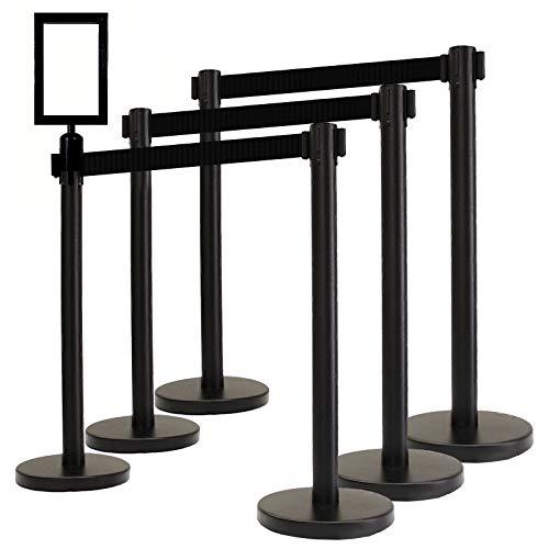 VIP Crowd Control Retractable Belt Queue Safety Stanchion Barrier Set, 36