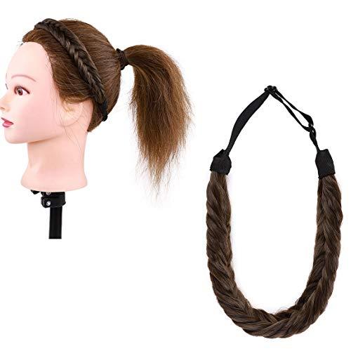 Naturale Hair Extensions Estensioni dei capelli Larghi a Coda di Pesce Moda Fascia Intrecciata Trecce Classiche Trecce Elastiche Elastico Cenere marrone