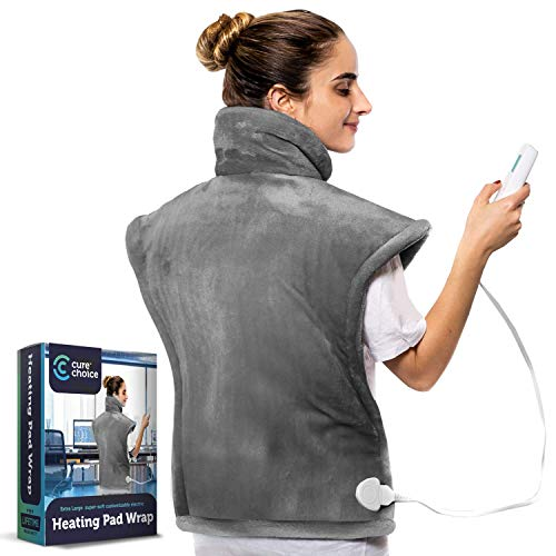 Cure Choice XL Electric Heating Pad for Back Pain Relief, Ultra Soft 24'x33' Heating pad for Muscle Cramps – Heated Pad with Adjustable Temperature Settings, Safe Auto Shut (Grey)