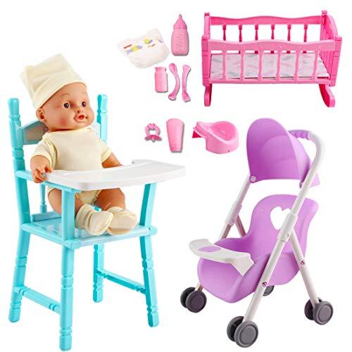 deAO 15-teiliges Spielset Meine erste Babypuppe mit einem Miniaturbett, einem mobilen Kinderbett, einem Hochstuhl, Fütterungszubehör und eine Babypuppe Besuchen Store (Mehrfarben 1)