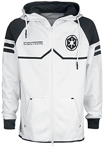 Star Wars Storm Trooper Hombre Capucha con Cremallera Blanco L, 100% poliéster, Regular