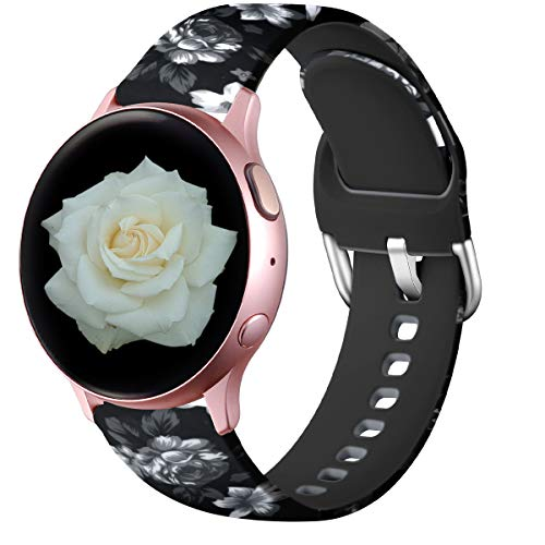Lerobo Floral Bands Compatible with Samsung Galaxy Watch Active 2 40mm 44mm/ Active/Galaxy Watch 42mm, 20mm Soft Silicone Replacement Bands for Smartwatch Active 2/1 Women Men Gray Flower Pattern