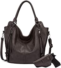 Concealed Carry Hobo Purse for Women Leather Crossbody Shoulder Bags Large Tote Bag with Detachable Holster