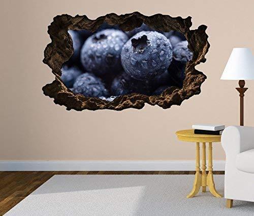 3D wandtattoo doorbraak blauwe bessen bessen fruit fruit blauwe muur sticker muurdoorbraak sticker zelfklevend muurschildering muursticker woonkamer 11O2093 ca. 162cmx97cm
