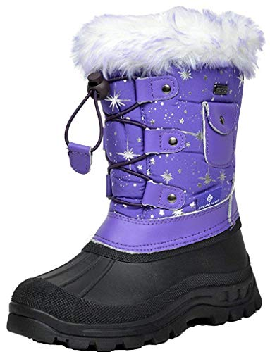 DREAM PAIRS Big Kid Ksnow Purple Isulated Waterproof Snow Boots - 4 M US Big Kid